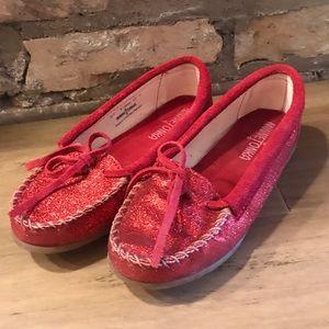 Minnetonka Moccasins red ruby glitter 4